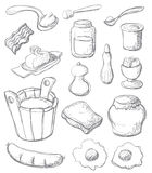 Breakfast set gray. Sketch style breakfast set. Each object in separated layers. Vector illustration Stock Image