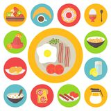 Breakfast set. Morning breakfast icons set. Sunny side up eggs, drinks and different meal. Flat style Stock Image