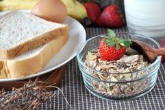 Breakfast set Muesli and Bread Stock Images