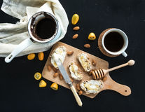 Breakfast set: pot or cezve of coffee, cup Stock Photos