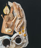 Breakfast set: a pot (cezve) of coffee, a cup on a kitchen towel Stock Photos