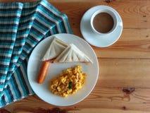 Breakfast set. Simple easy breakfast stock photo
