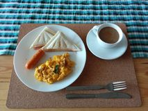 Breakfast set. A simple breakfast in 10 minutes stock images