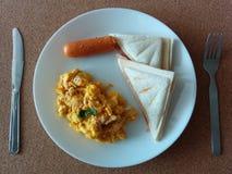 Breakfast set. Simple morning breakfast stock photography