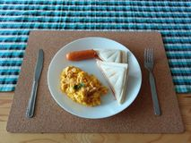 Breakfast set. Simple morning breakfast royalty free stock photos