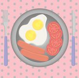 Breakfast set on the table, fried egg, sausages Stock Photo