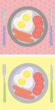 Breakfast set on the table, fried egg, sausages stock illustration