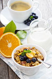 Breakfast set on the table with granola Royalty Free Stock Image