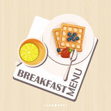Breakfast set with tea, lemon, belgian waffles. Top view. Stock Images
