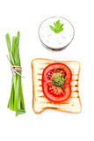 Breakfast set of toast bread, tomato, isolated on white backgrou Stock Images