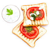 Breakfast set of toast bread, tomato, isolated on white backgrou Royalty Free Stock Images