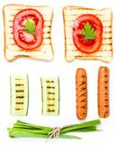 Breakfast set of toast bread, tomato, sausage and herbs, isolate Royalty Free Stock Photos