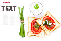 Breakfast set of toast bread, tomato, sausage and herbs, isolate Stock Image