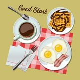 Breakfast set top view. Coffee, fried egg with bacon, waffles Stock Images