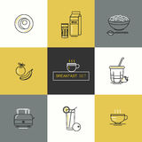 Breakfast - set of vector icons in linear flat style related to morning meal. royalty free stock images