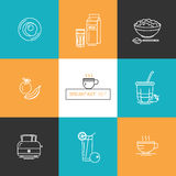 Breakfast - set of vector icons in linear style related to morning meal. stock photos