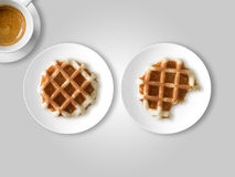 Breakfast set of waffles and coffee. stock photos