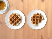 Breakfast set of waffles and coffee. stock photo