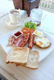 Breakfast set in the white dish Royalty Free Stock Image
