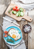 Breakfast set. Whole grain andwich with fried egg Royalty Free Stock Photo