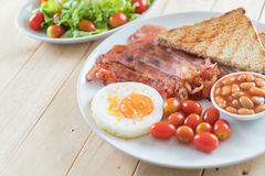 Breakfast set on wood Royalty Free Stock Images