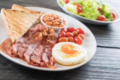 Breakfast set on wood Royalty Free Stock Photography