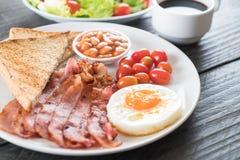 Breakfast set on wood Stock Photo