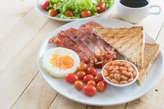 Breakfast set on wood Royalty Free Stock Photos