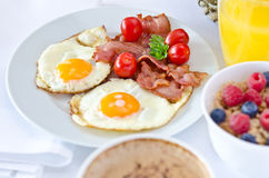 Breakfast setting with fried eggs. stock photo