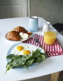 Breakfast. side view. light background royalty free stock photography