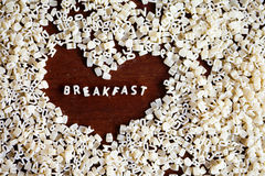Breakfast sign from pasta letters Stock Photos