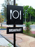 Breakfast Signboard in Black and White color Royalty Free Stock Images