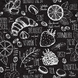 Breakfast sketched seamless pattern Royalty Free Stock Photography