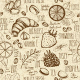 Breakfast sketched seamless pattern Stock Photography