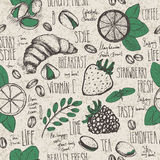 Breakfast sketched seamless pattern Royalty Free Stock Images