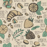 Breakfast sketched seamless pattern Royalty Free Stock Photos