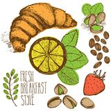 Breakfast sketched set. With lemon, strawberry, mint Stock Images