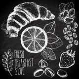 Breakfast sketched set Royalty Free Stock Image