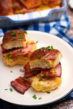 Breakfast Sliders buns with bacon. Breakfast Sliders. buns with bacon.selective focus Royalty Free Stock Photography