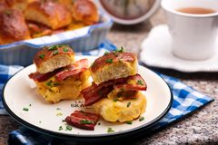 Breakfast Sliders buns with bacon. Breakfast Sliders. buns with bacon.selective focus Stock Image