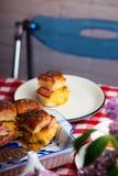 Breakfast Sliders buns with bacon. Breakfast Sliders. buns with bacon.selective focus Stock Images