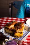Breakfast Sliders buns with bacon. Breakfast Sliders. buns with bacon.selective focus Royalty Free Stock Image