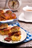 Breakfast Sliders buns with bacon. Breakfast Sliders. buns with bacon.selective focus Royalty Free Stock Images