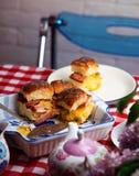 Breakfast Sliders buns with bacon. Breakfast Sliders. buns with bacon.selective focus Royalty Free Stock Photos
