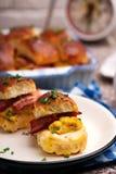Breakfast Sliders buns with bacon. Breakfast Sliders. buns with bacon.selective focus Stock Photography