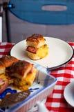 Breakfast Sliders buns with bacon. Breakfast Sliders. buns with bacon.selective focus Stock Photos