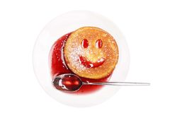 Breakfast with a smiling biscuit Stock Images