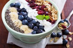 Breakfast smoothie bowl with fruits Stock Photography