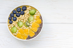 Breakfast smoothie bowl with matcha green tea, kiwi and banana Royalty Free Stock Photos
