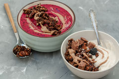 Breakfast smoothies bowls Stock Photo